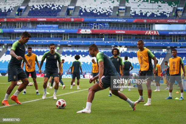 Players of Brazil in action during a training session ahead of the Round 16 match against Mexico at Samara Arena on July 1 2018 in Samara Russia