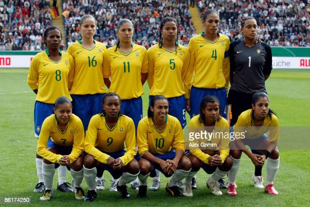 Players of Brazil line up before the Women's International Friendly match between Germany and Brazil at the Commerzbank Arena on April 22, 2009 in...