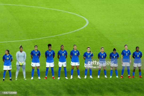 Players of Brazil line up during the Women's First Round Group F match on day one of the Tokyo 2020 Olympic Games at Miyagi Stadium on July 24, 2021...