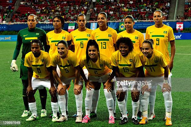 Players of Brazil pose for a team photo before the match between Brazil and Canada in the 2011 XVI Pan American Games at Omnilife stadium on October...