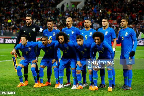 Players of Brazil pose for a team photo during the international friendly match between Russia and Brazil at BSA OC 'Luzhniki' Stadium in Moscow...