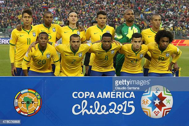 Players of Brazil pose for a team photo prior the 2015 Copa America Chile Group C match between Brazil and Venezuela at Monumental David Arellano...