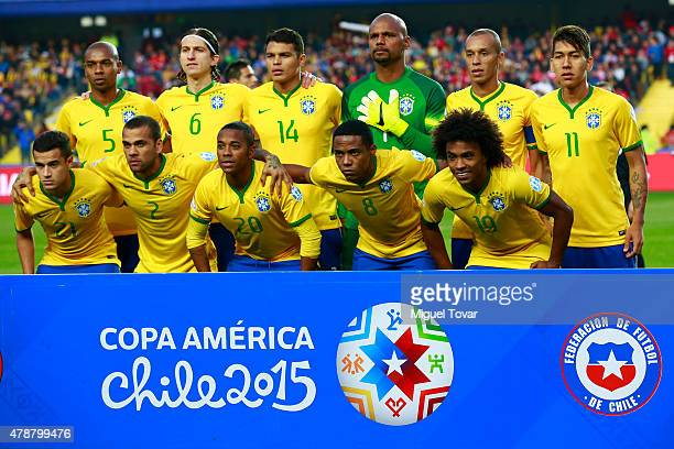 Players of Brazil pose for a team photo prior the 2015 Copa America Chile quarter final match between Brazil and Paraguay at Ester Roa Rebolledo...