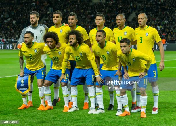 Players of Brazil pose for a team photo prior to the international friendly match between Germany and Brazil at Olympiastadion on March 27 2018 in...