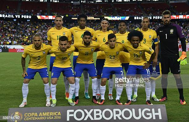 Players of Brazil pose for pictures before the start of the Copa America Centenario football tournament match against Peru in Foxborough...