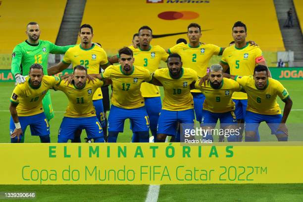 Players of Brazil pose for the team photo a match between Brazil and Peru as part of South American Qualifiers for Qatar 2022 at Arena Pernambuco on...