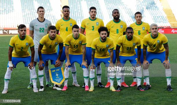 Players of Brazil U23 team pose for a photo prior to the International football friendly match between Serbia U21 and Brazil U23 at Rajko Mitic...
