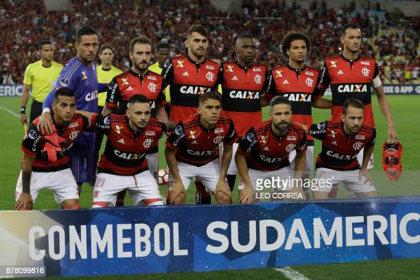 Players of Brazil's Flamengo pose for photos before their Copa Sudamericana 1st leg of Semi Final soccer match with Colombia's Junior de Barranquilla...