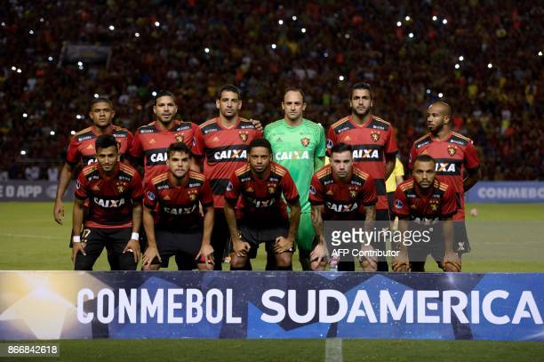 Players of Brazil's Sport Recife pose for pictures before the start of the Sudamericana Cup first leg quarterfinal football match against Colombia's...