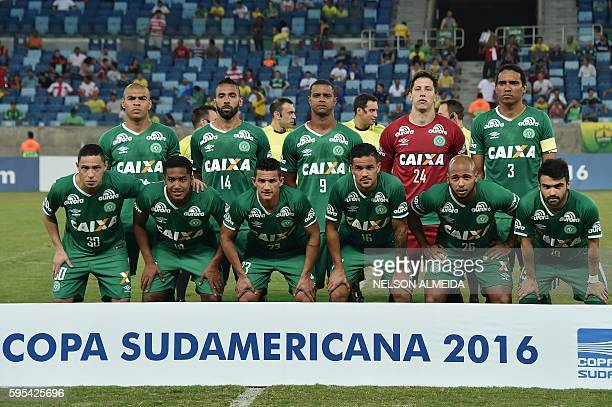 Players of Brazil's team Chapecoense pose for pictures during their 2016 Copa Sudamericana football match against Brazil's Cuiaba held at Arena...