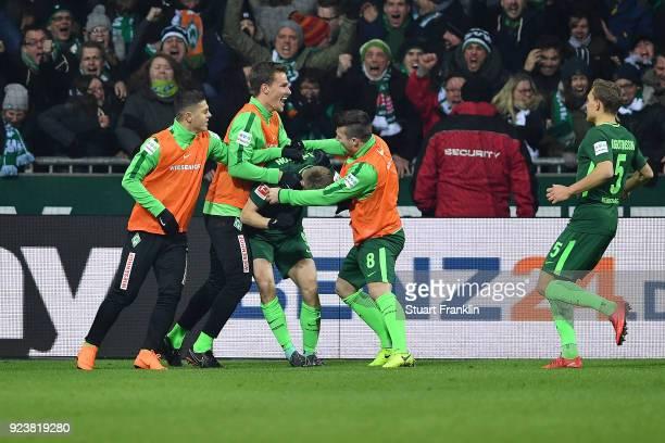 Players of Bremen celebrate after Ishak Belfodil of Bremen scored a goal to make it 1:0 during the Bundesliga match between SV Werder Bremen and...