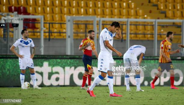 Players of Brescia show thier dejection the Serie A match between US Lecce and Brescia Calcio at Stadio Via del Mare on July 22, 2020 in Lecce, Italy.