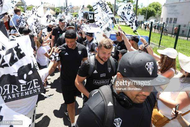 Players of Brive arrive at the stadium ahead of the match during the Top 14 barrages match between Brive and Grenoble on June 2, 2019 in Brive,...