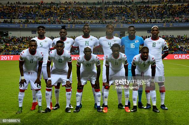 Players of Burkina Faso national football team pose for a photo ahead of the Africa Cup of Nations 2017 match between Burkina Faso and Cameroon at...