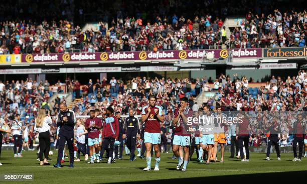 Players of Burnley enjoys the lap of honour after the Premier League match between Burnley and AFC Bournemouth at Turf Moor on May 13 2018 in Burnley...