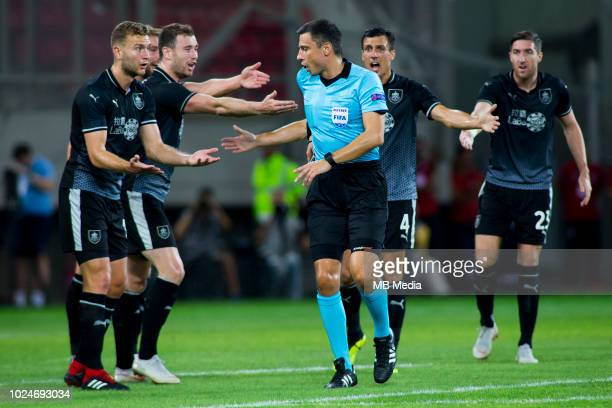 Players of Burnley FC in argument with the referee during the Europa League Qualifying PlayOffs 1st Leg match between Olympiacos FC and Burnley FC at...