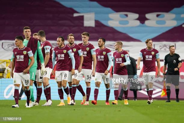 Players of Burnley walk out to the field of play prior to the Premier League match between Burnley and Southampton at Turf Moor on September 26, 2020...