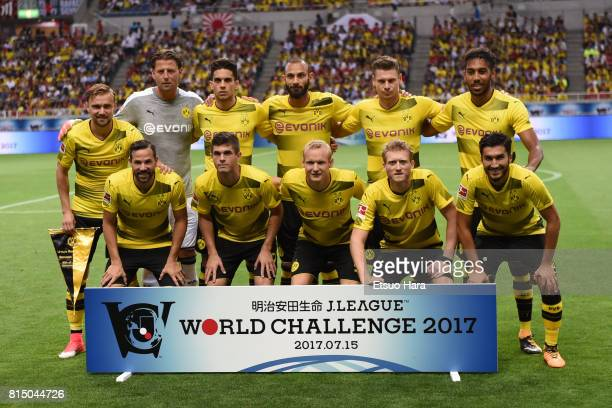 Players of Burussia Dortmund line up for team photos prior to the preseason friendly match between Urawa Red Diamonds and Borussia Dortmund at...