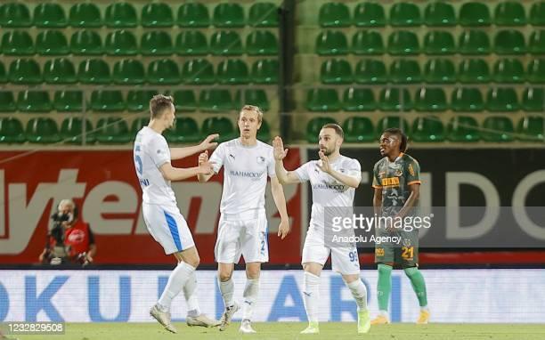 Players of Buyuksehir Belediye Erzurumspor celebrate after scoring a goal during the Turkish Super Lig week 41 match between Aytemiz Alanyaspor and...