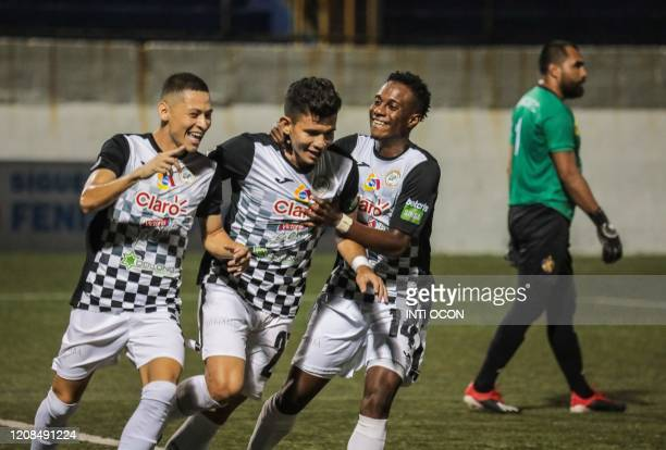 Players of Cacique Diriangen FC celebrate a goal against Managua FC during their football match at the National stadium in Managua on March 28 2020...