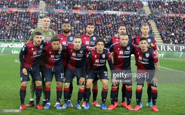 Players of Cagliari pose before the Serie A match between Cagliari Calcio and AS Roma at Sardegna Arena on March 1 2020 in Cagliari Italy