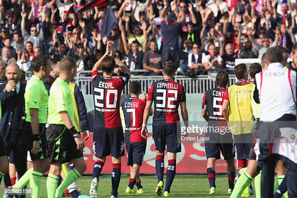 Players of Cagliari react at the end of the Serie A match between Cagliari Calcio and Genoa CFC at Stadio Sant'Elia on November 9 2014 in Cagliari...