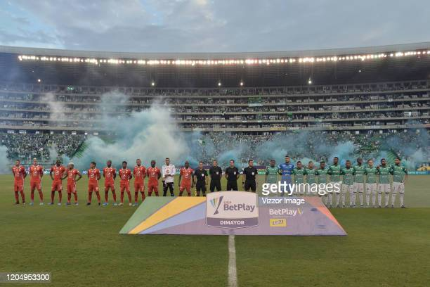 Players of Cali and America in the formal events prior a match between Deportivo Cali and América de Cali as part of Liga Aguila 2020 at Estadio...