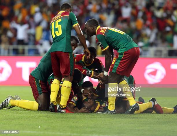 Players of Cameroon celebrate after scoring a goal during the 2017 Africa Cup of Nations final football match between Egypt and Cameroon at the...