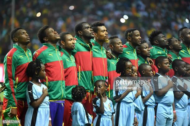 Players of Cameroon during the African Nations Cup Final match between Cameroon and Egypt at Stade de L'Amitie on February 5 2017 in Libreville Gabon