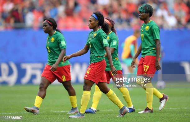 Players of Cameroon look dejected at half time of the 2019 FIFA Women's World Cup France Round Of 16 match between England and Cameroon at Stade du...