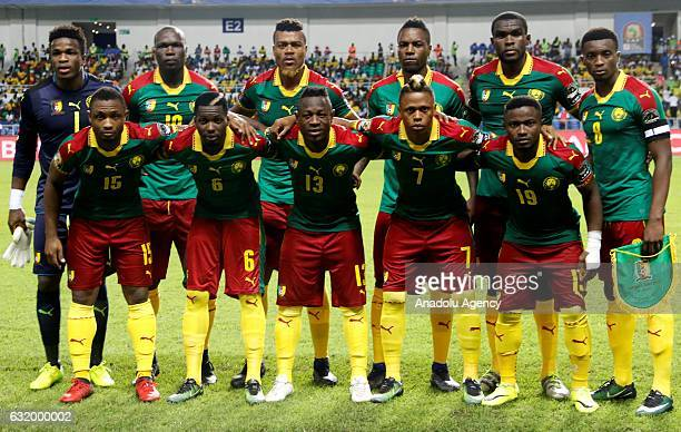 Players of Cameroon pose for a photo ahead of the Africa Cup of Nations 2017 Group A match between Cameroon and Guinea Bissau at the De l'Amitie...