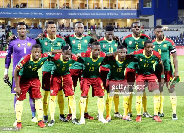 Players of Cameroon pose for a photo ahead of the African Cup of Nations semifinal soccer match between Cameroon and Ghana at the Stade de...