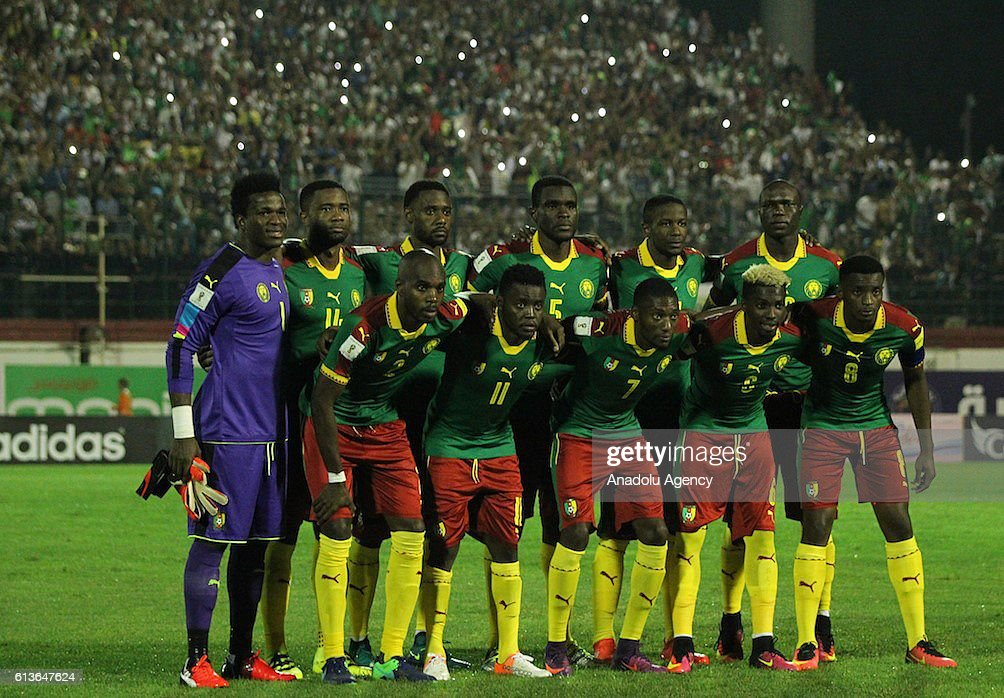 Players of Cameroon pose for a photo before the FIFA World Cup 2018 qualifying soccer match between Algeria and Cameroon at the Mustapha Tchaker Stadium in Blida, Algeria on October 09, 2016.