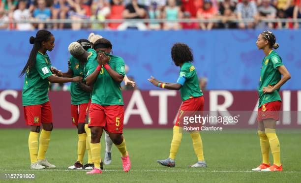 Players of Cameroon react after their first goal is disallowed following a VAR check during the 2019 FIFA Women's World Cup France Round Of 16 match...