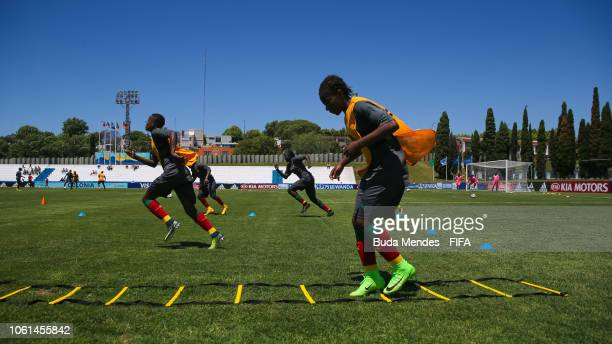 Players of Cameroon warm up before the FIFA U-17 Women's World Cup Uruguay 2018 group C match between USA and Cameroon at Estadio Profesor Alberto...