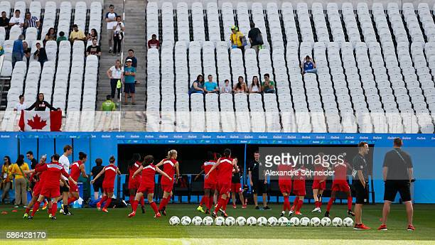 Players of Canada during the warm up session before the match between Canada and Zimbabwe womens football for the summer olympics at Arena...