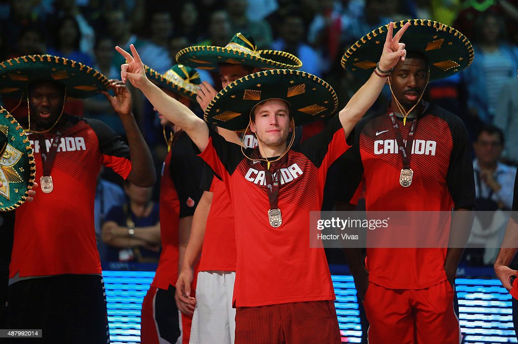 Players of Canada pose after reaching the third place during the 2015 FIBA Americas Championship for Men at Palacio de los Deportes on September 12, 2015 in Mexico City, Mexico.
