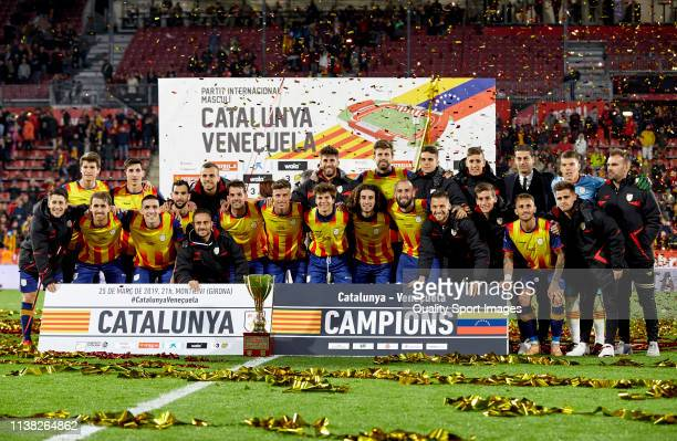Players of Catalonia celebrating the victory of the International Friendly match between Catalonia and Venezuela at Montilivi Stadium on March 25...