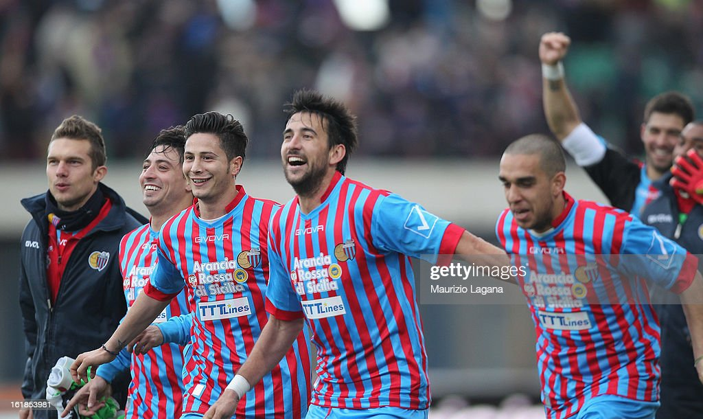 Players of Catania celebrate during the Serie A match between Calcio Catania and Bologna FC at Stadio Angelo Massimino on February 17, 2013 in Catania, Italy.