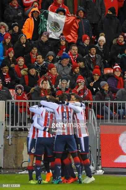 Players of CD Chivas Guadalajara celebrates the goal during the 2018 CONCACAF Champions League Final match between Toronto FC and CD Chivas...