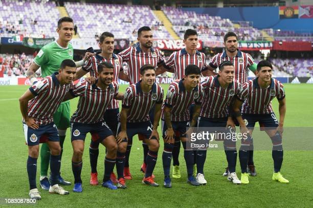 Players of CD Guadalajara line up for the team photos prior to the match between Kashima Antlers and CD Guadalajara on December 15 2018 in Al Ain...