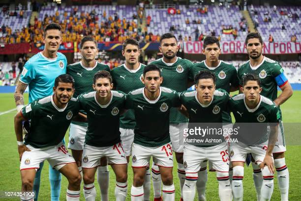 Players of CD Guadalajara pose for a team photo during the FIFA Club World Cup UAE 2018 5th Place Match between ES Tunis and CD Guadalajara at Hazza...