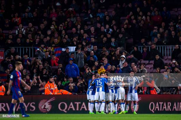 Players of CD Leganes celebrate after their teammate Unai Lopez scored their team's first goal during the La Liga match between FC Barcelona and CD...