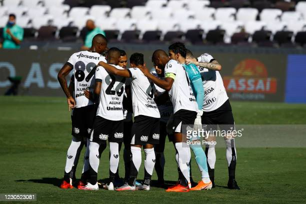 Players of Ceara huddle prior to the match between Flamengo and Ceara as part of the Brasileirao Series A at Maracana Stadium on January 10, 2021 in...