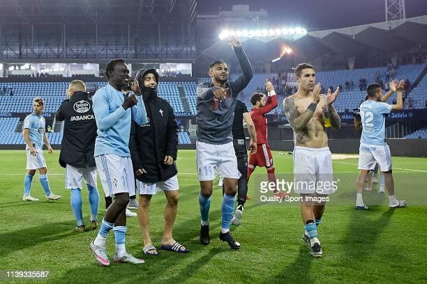 Players of Celta de Vigo celebrate with their fans the victory after the La Liga match between RC Celta de Vigo and Villarreal CF at Abanca Balaidos...