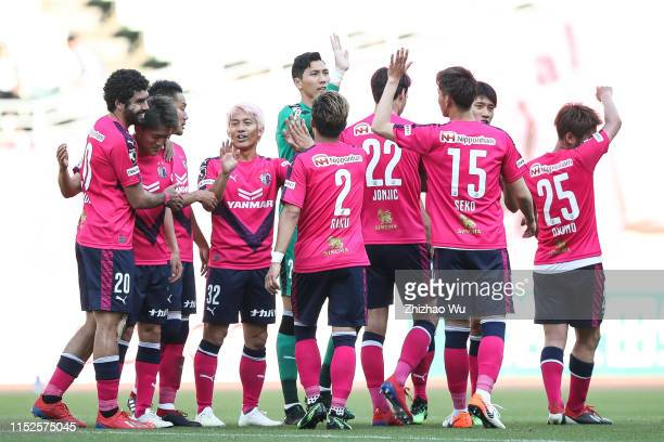 Players of Cerezo Osaka celebrate the victory after the J.League J1 match between Cerezo Osaka and Yokohama F.Marinos at Yanmar Stadium Nagai on May...