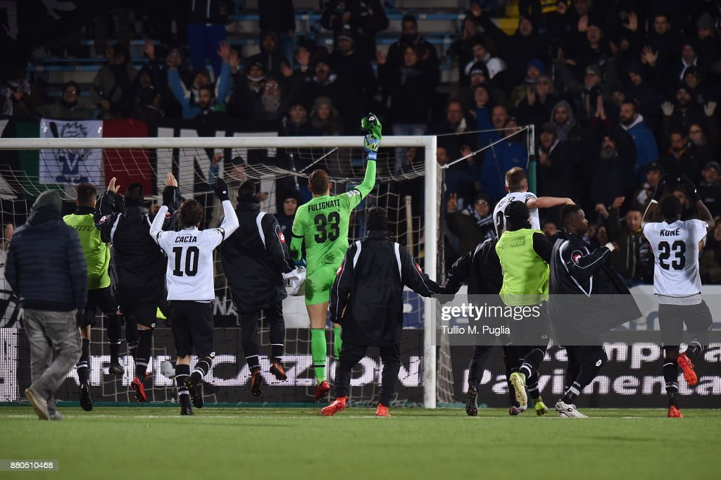 Players of Cesena celebrate after scoring the Serie A ...