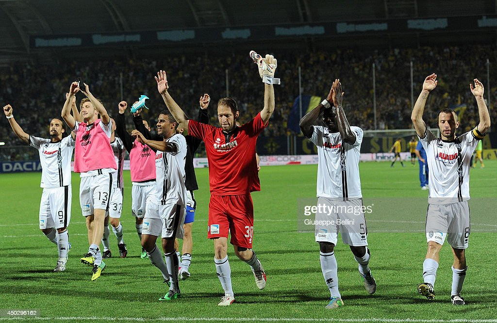 Players of Cesena celebrate the victory after the Serie B ...
