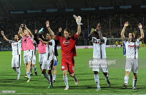Players of Cesena celebrate the victory after the Serie B playoff match between Modena FC and AC Cesena at Alberto Braglia Stadium on June 8, 2014 in...