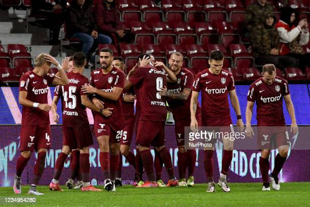 Players of CFR Cluj celebrating after scored a goal during the game CFR Cluj vs FCSB, Romanian Liga 1, Dr. Constantin Radulescu Stadium, Cluj-Napoca,...
